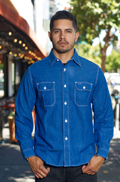 Sugar Cane Long Sleeve Workshirt - Vat Dyed Selvedge Chambray
