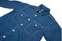 Sugar Cane Long Sleeve Workshirt - Vat Dyed Selvedge Chambray - Image 4