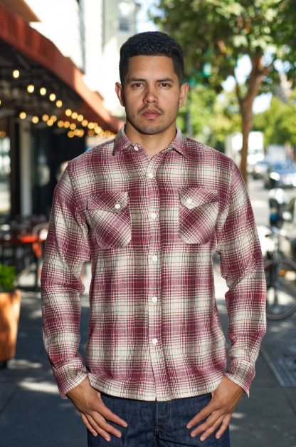 3sixteen Crosscut Brushed Flannel - Red