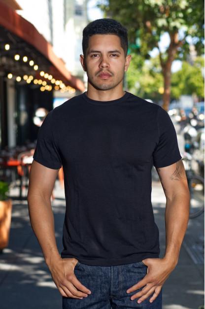 Merz B. Schwanen Loopwheeled T-Shirt - Merino Wool Black