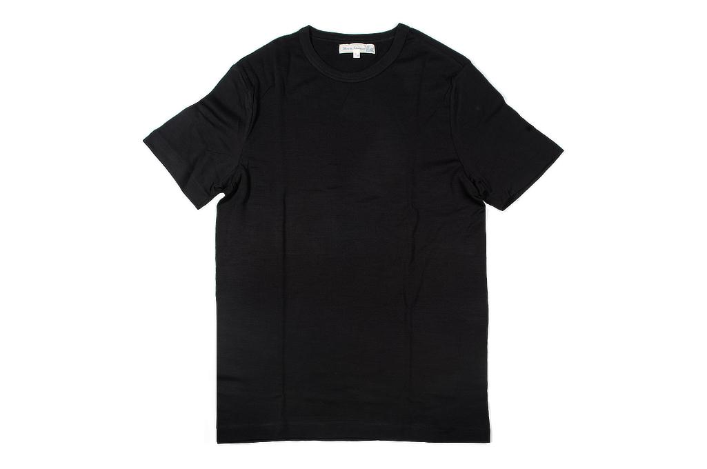 Merz B. Schwanen Loopwheeled T-Shirt - Merino Wool Black - Image 2
