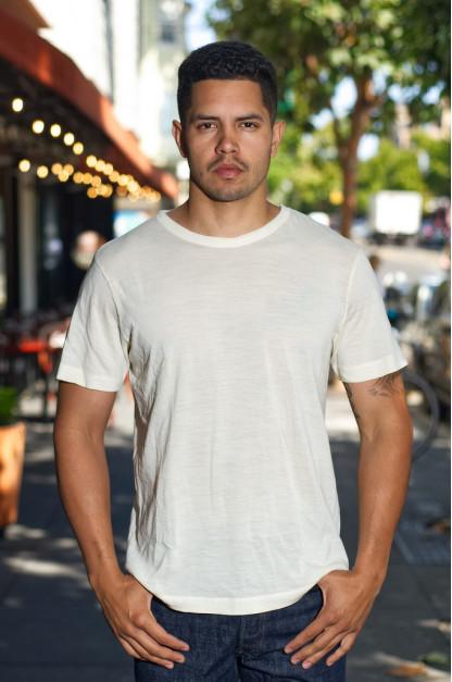 Merz B. Schwanen Loopwheeled T-Shirt - Merino Wool Natural