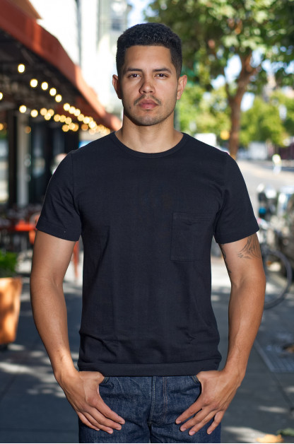 Merz B. Schwanen Loopwheeled Pocket T-Shirt - Super Heavy Black