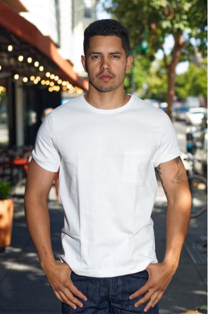 Merz B. Schwanen Loopwheeled Pocket T-Shirt - Super Heavy White