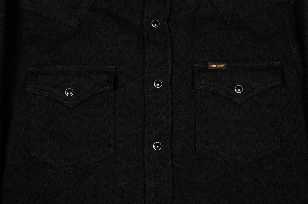 Iron Heart Ultra-Heavy Flannel - Black Herringbone - Image 2