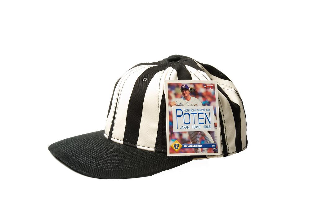 Poten Japanese Made Cap - Black/White Barred - Image 2