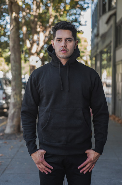 Iron Heart Ultra-Heavy Loopwheeled Hoodie - Pull-Over Black