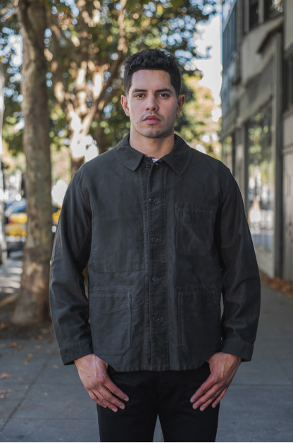 Sugar Cane Moleskin French Work Jacket - Aged Black