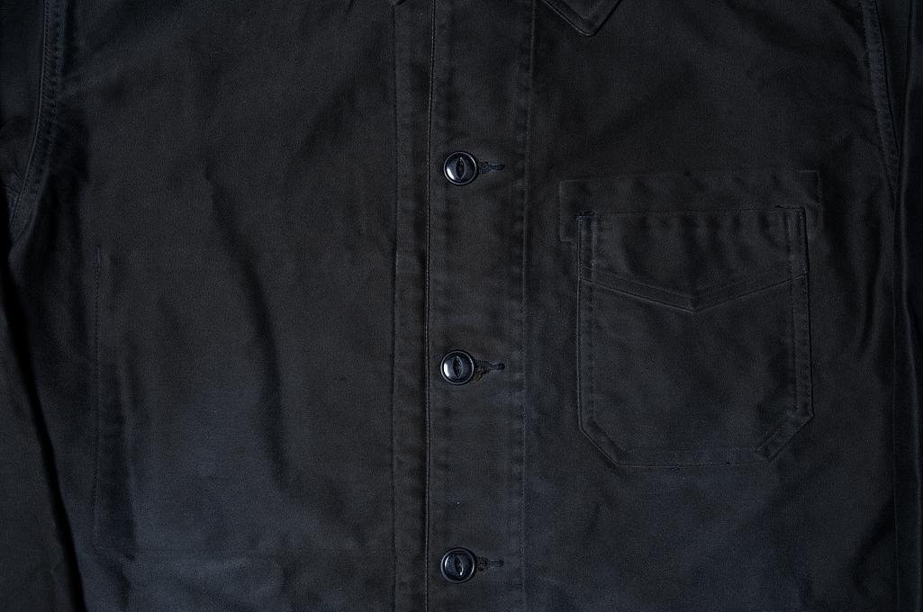 Sugar Cane Moleskin French Work Jacket - Aged Black - Image 4