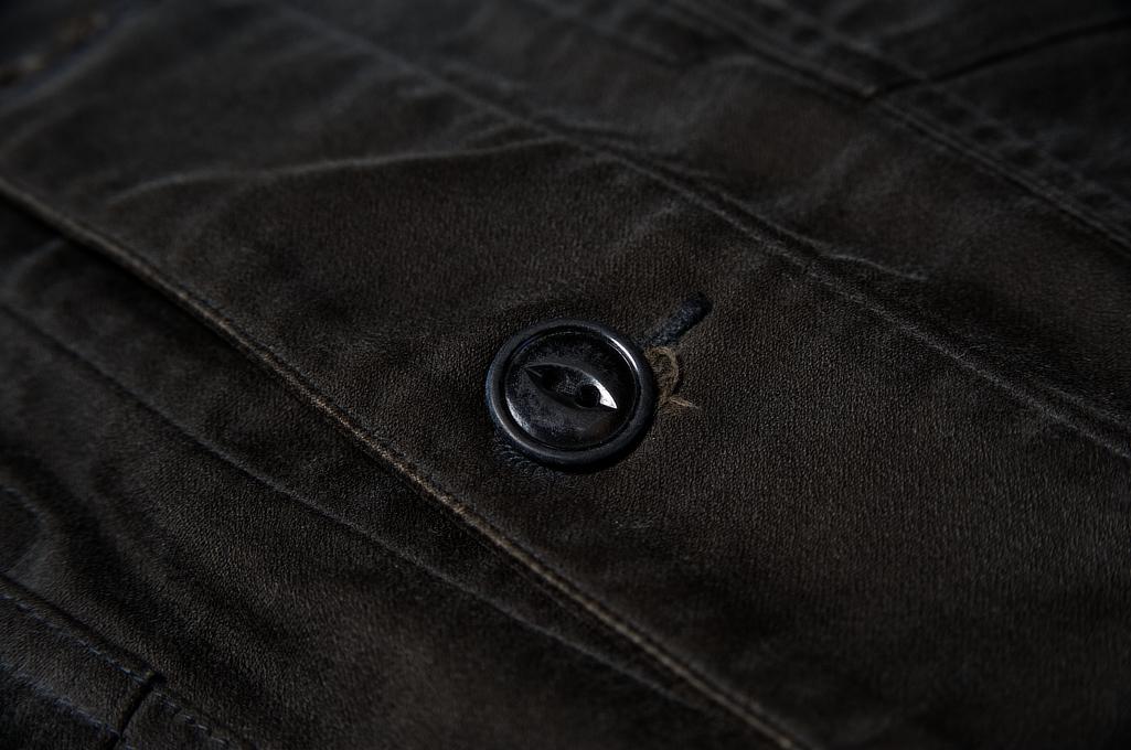 Sugar Cane Moleskin French Work Jacket - Aged Black - Image 9