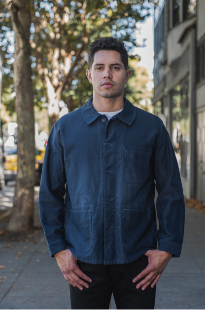 Sugar Cane Moleskin French Work Jacket - Aged Navy