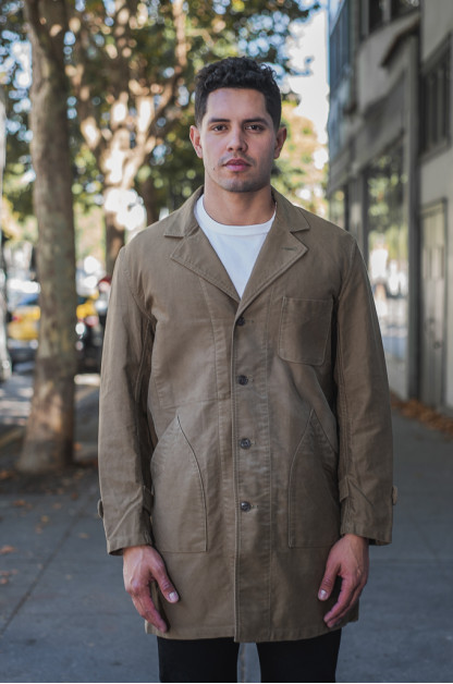 Sugar Cane Moleskin French Work Coat - Aged Khaki