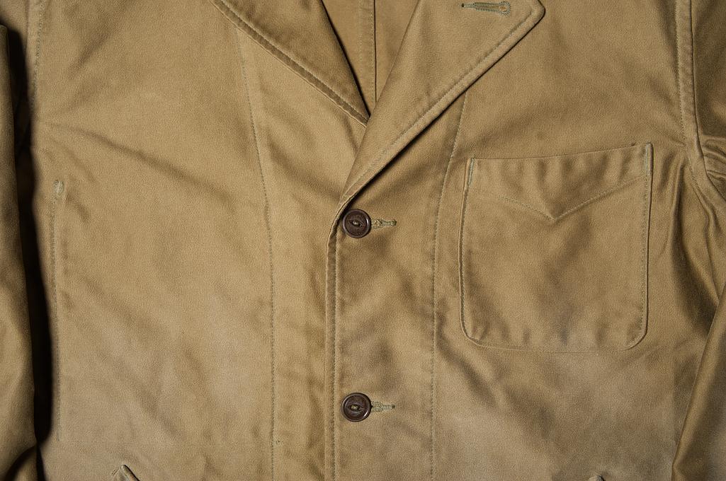 Sugar Cane Moleskin French Work Coat - Aged Khaki - Image 5