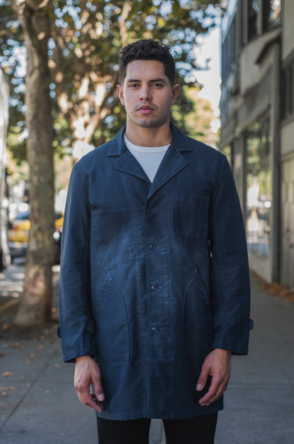 Sugar Cane Moleskin French Work Coat - Aged Navy