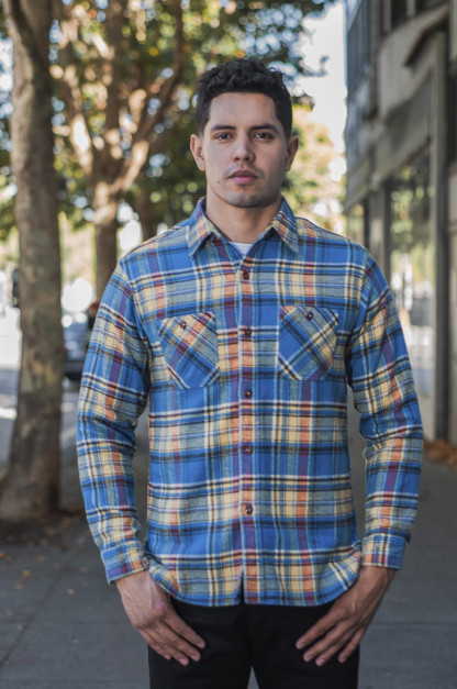 Sugar Cane Winter Flannel - Twill Check Blue