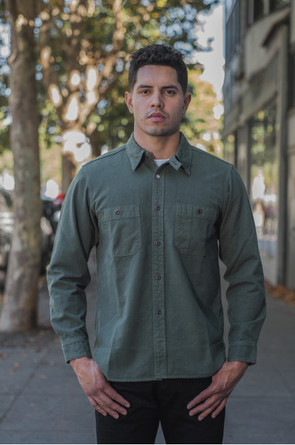 Seuvas 79A Canvas Workshirt - Olive