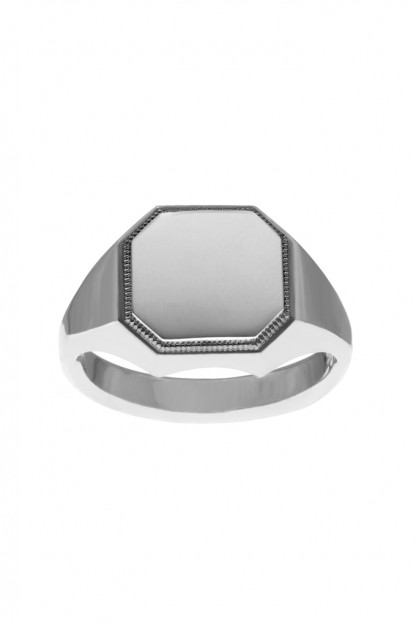 Neff Goldsmith Signet Ring - Silver w/ Plate & Milgrain