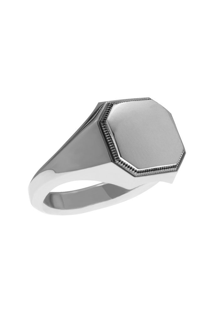 Neff Goldsmith Signet Ring - Silver w/ Plate & Milgrain - Image 2