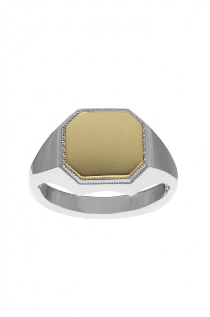 Neff Goldsmith Signet Ring - Sterling Silver & 18k Gold
