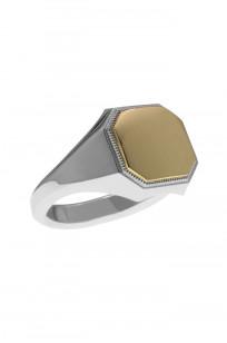 Neff Goldsmith Signet Ring - Sterling Silver & 18k Gold - Image 2