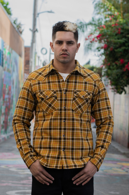 Iron Heart Ultra-Heavy Snap Flannel - Mustard