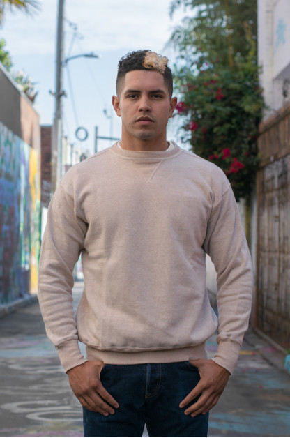 Warehouse Loopwheeled Set-In Freedom Crewneck Sweater - Oatmeal
