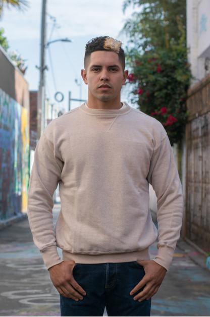 Warehouse Loopwheeled Set-In Freedom Crewneck Sweater - Oatmeal