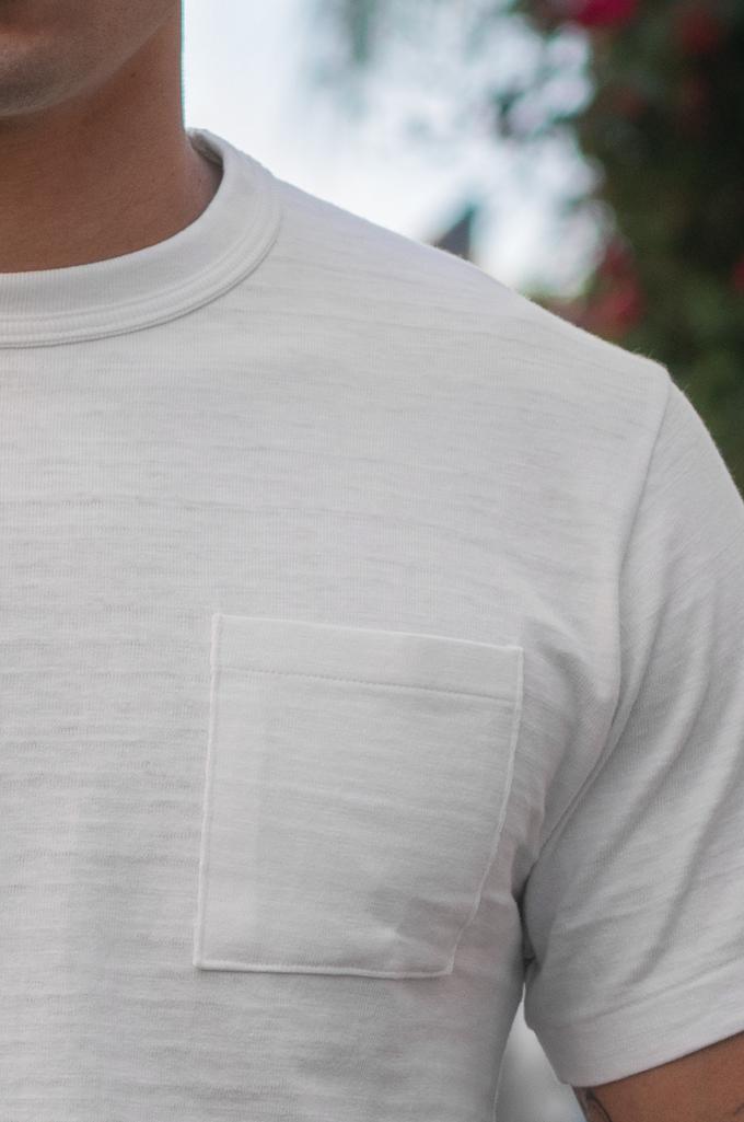 Warehouse Slub Cotton T-Shirt - White w/ Pocket - Image 2