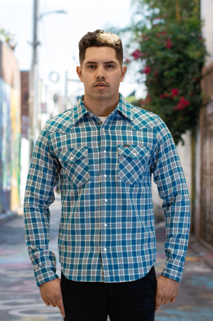 Iron Heart Ultra-Heavy Flannel - Tartan Check Blue