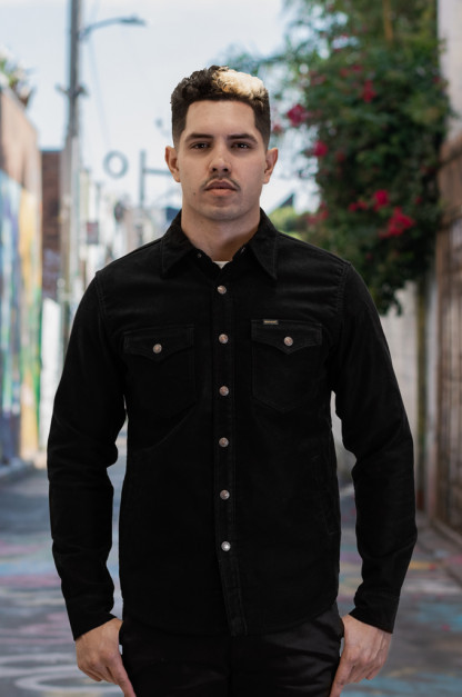 Iron Heart Heavy Moleskin CPO Overshirt - Black (Self Edge Exclusive)