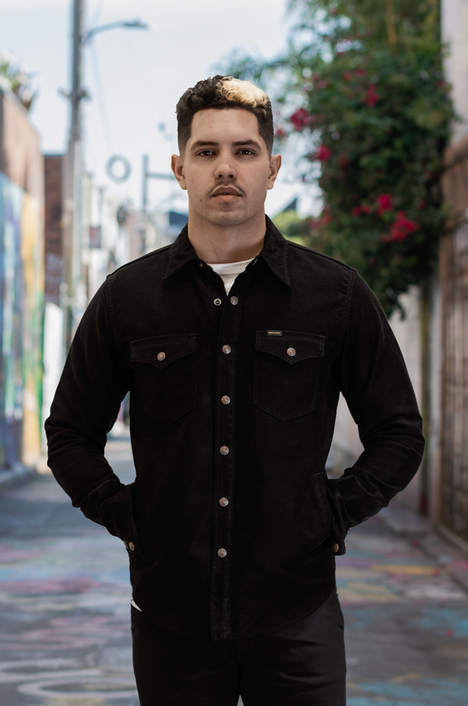 Iron Heart Heavy Moleskin CPO Overshirt - Black (Self Edge Exclusive)  - Image 2