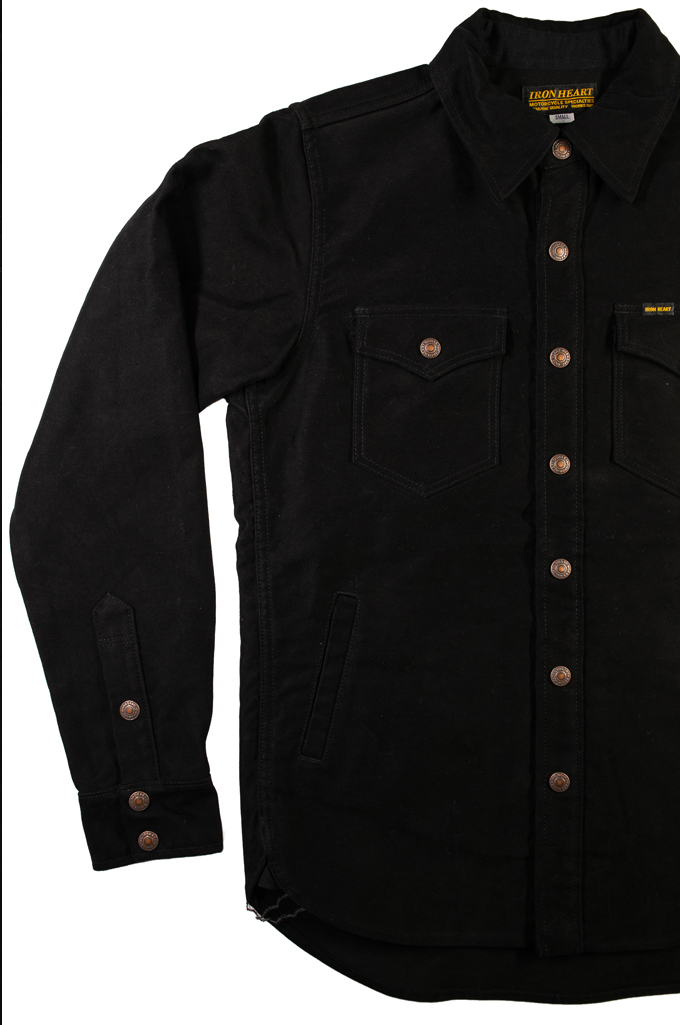 Iron Heart Heavy Moleskin CPO Overshirt - Black (Self Edge Exclusive)  - Image 7