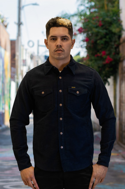 Iron Heart Heavy Moleskin CPO Overshirt - Navy