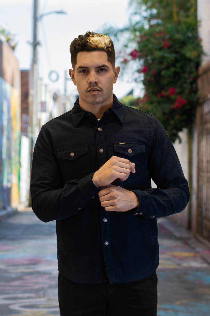 Iron Heart Heavy Moleskin CPO Overshirt - Navy - Image 1