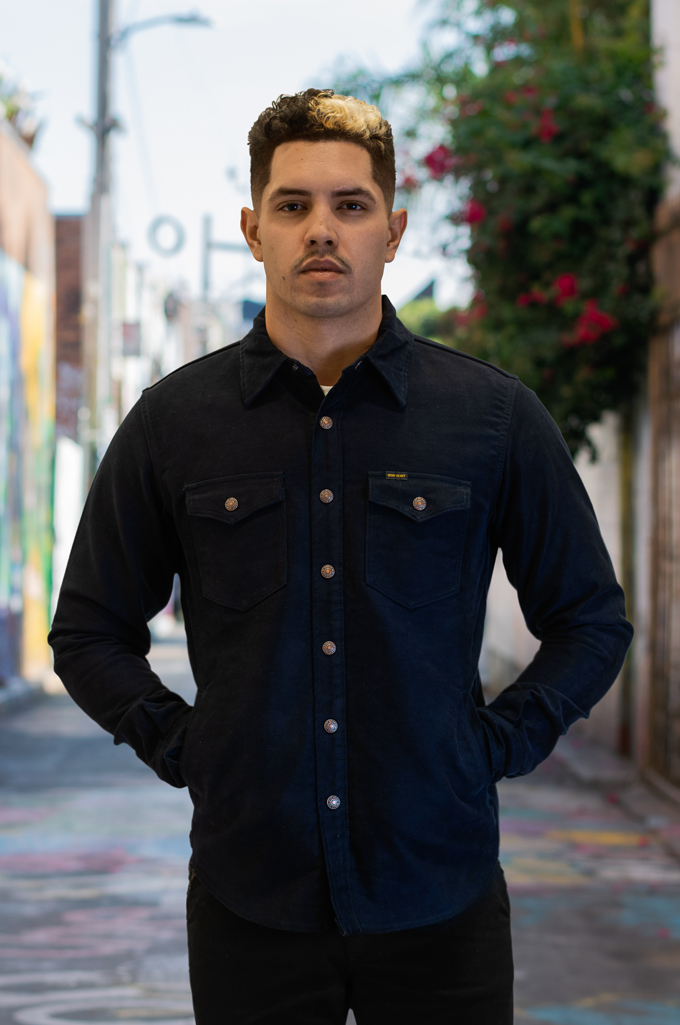 Iron Heart Heavy Moleskin CPO Overshirt - Navy - Image 2