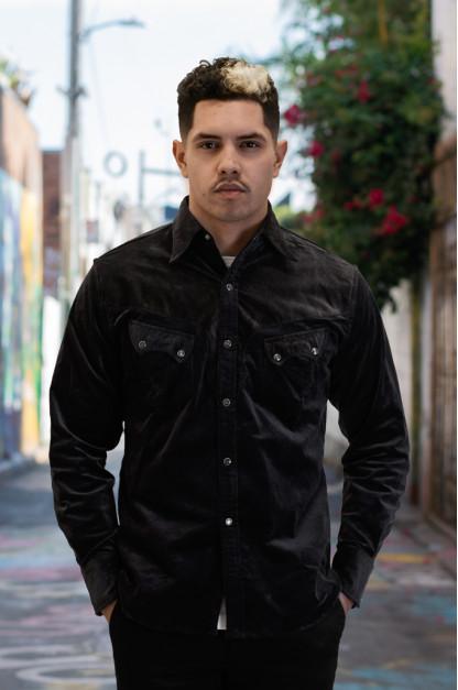 Stevenson Cody Snap Shirt - Dark Charcoal Corduroy