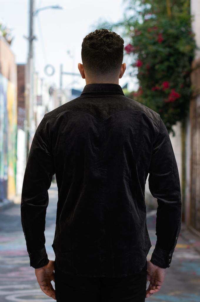 Stevenson Cody Snap Shirt - Dark Charcoal Corduroy - Image 3