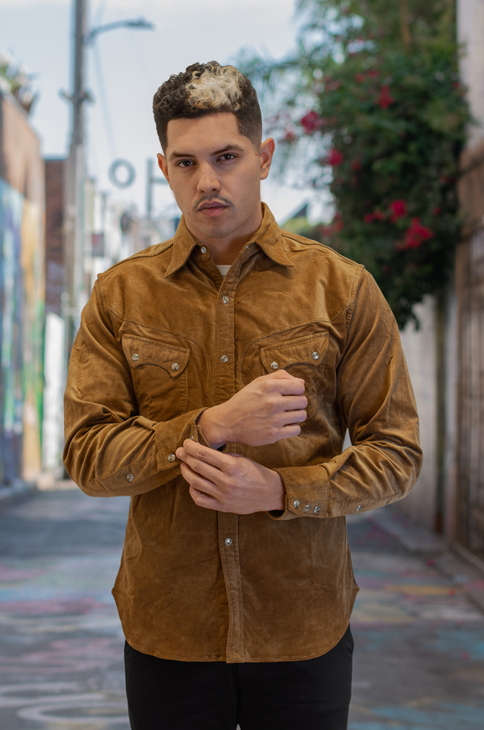 Stevenson Cody Snap Shirt - Khaki Corduroy - Image 1