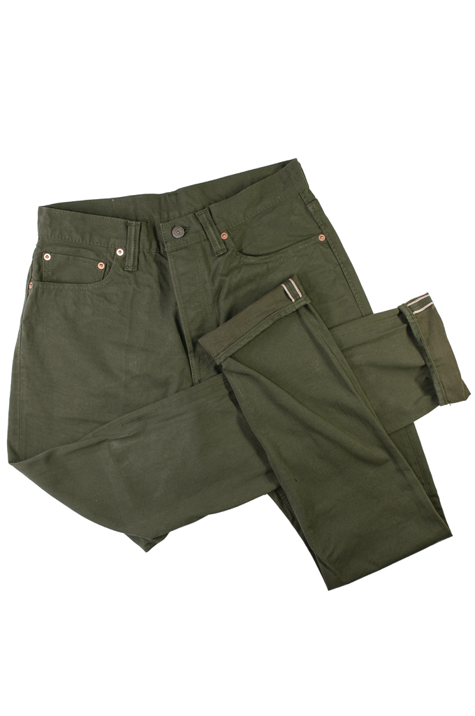 Pure Blue Japan Selvedge Twill Chinos - Olive - Image 4