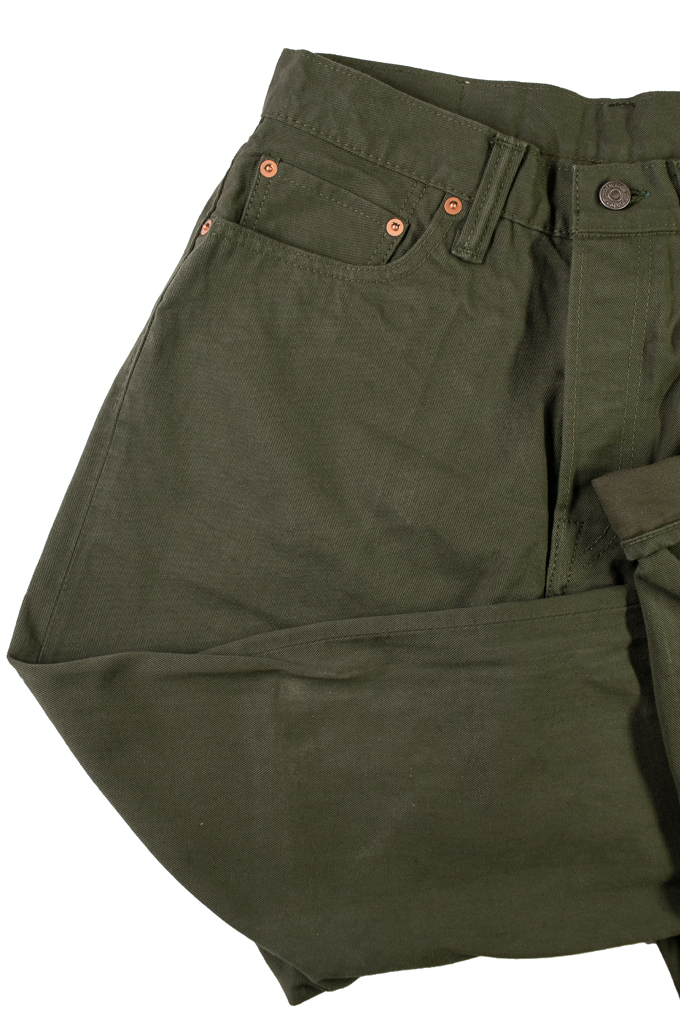 Pure Blue Japan Selvedge Twill Chinos - Olive - Image 5