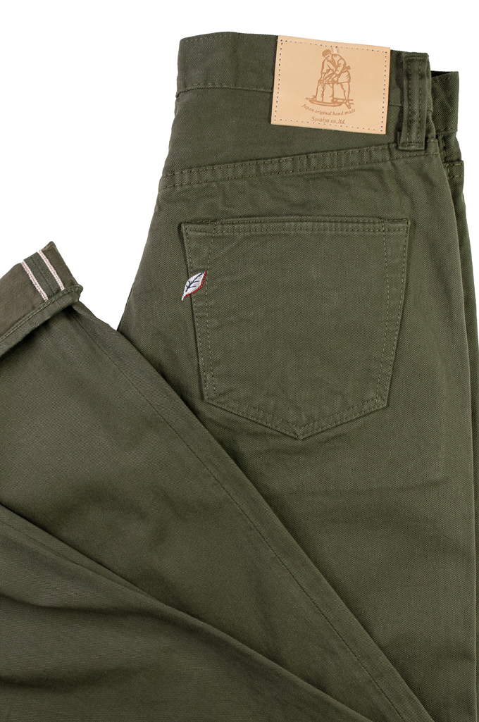 Pure Blue Japan Selvedge Twill Chinos - Olive - Image 7
