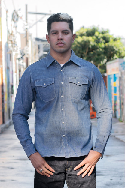 Iron Heart 10oz Selvedge Chambray Snap Buttoned Shirt