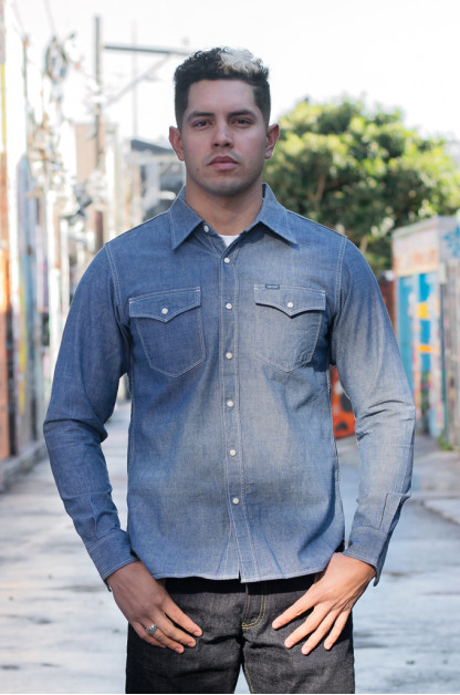 Iron Heart 10oz Selvedge Chambray Snap Buttoned Shirt