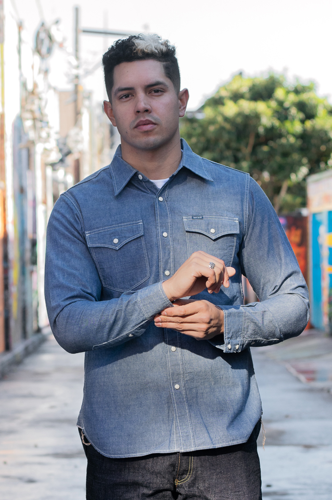 Iron Heart 10oz Selvedge Chambray Snap Buttoned Shirt - Image 1