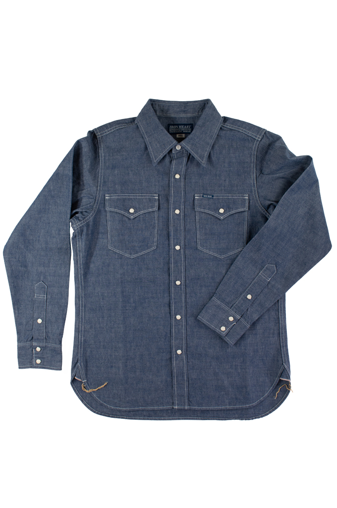 Iron Heart 10oz Selvedge Chambray Snap Buttoned Shirt - Image 3