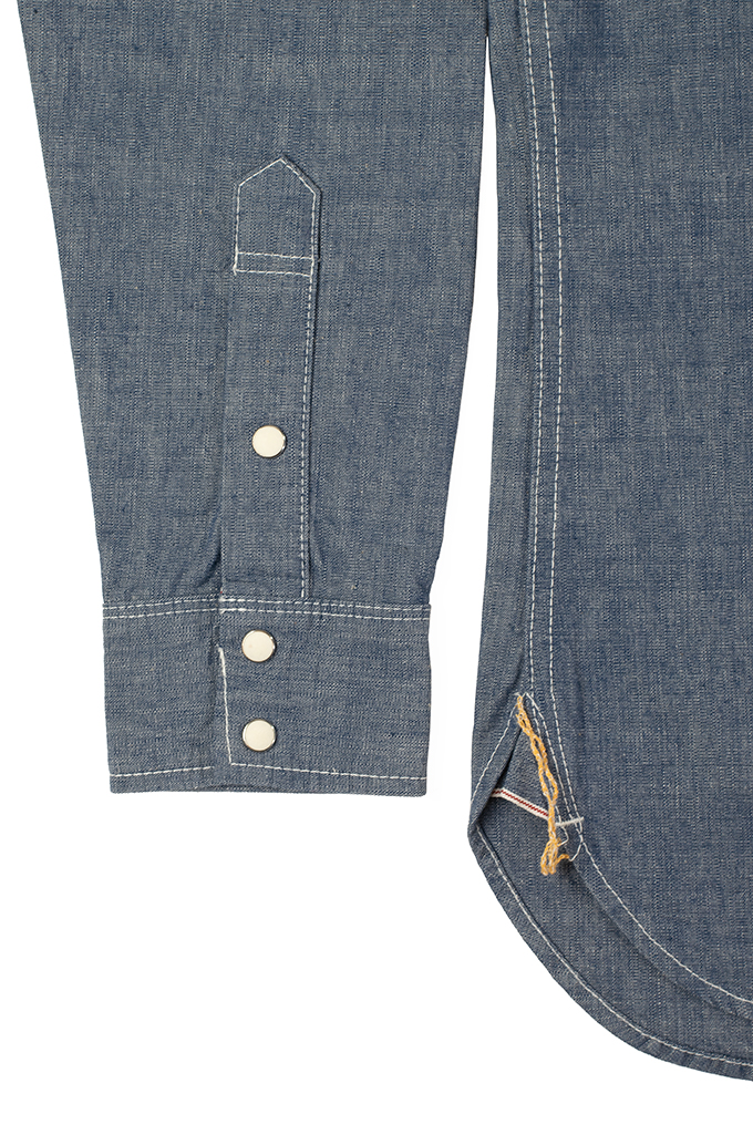 Iron Heart 10oz Selvedge Chambray Snap Buttoned Shirt - Image 4