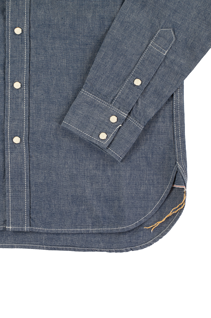 Iron Heart 10oz Selvedge Chambray Snap Buttoned Shirt - Image 5