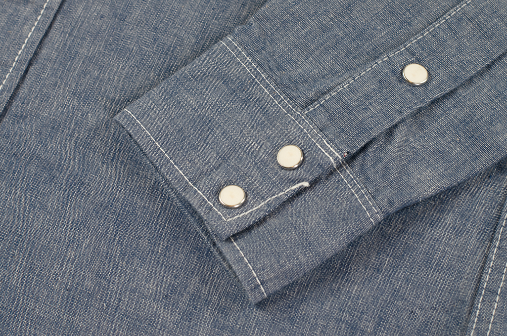 Iron Heart 10oz Selvedge Chambray Snap Buttoned Shirt - Image 8