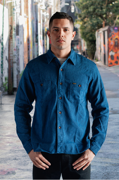 Studio D'Artisan Indigo Sashiko Workshirt - Blue