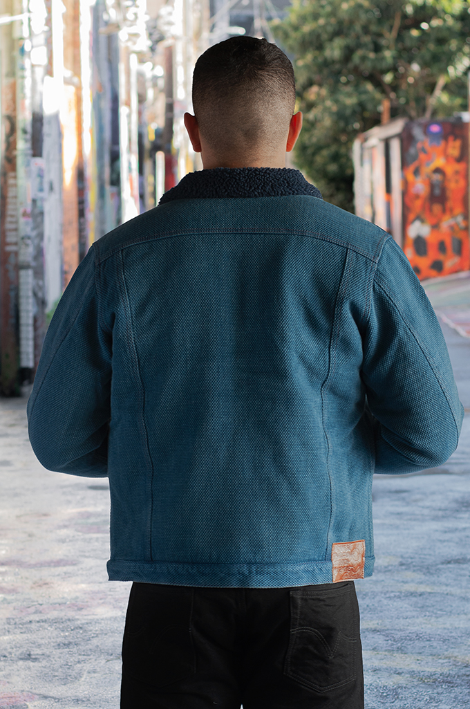 Studio D'Artisan Kasezome Sashiko Jacket - Faded Indigo - Image 1